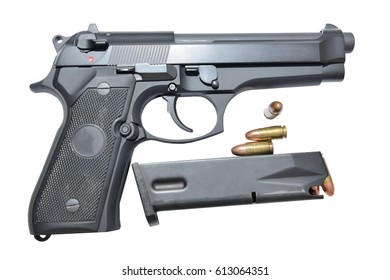 pistol and bullet 9 mm. black color on white background isolated.