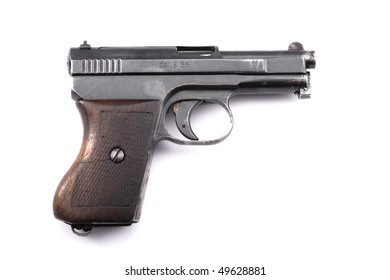 Pistol with clearly visible fingerprint