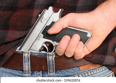 Pistol Concealed in a Man's Waistband