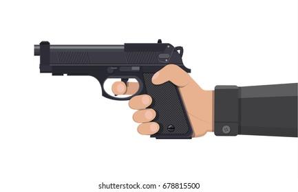 Pistol gun, automatic modern handgun in hand. Hand weapon. illustration in flat style