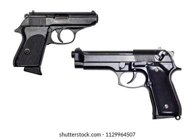 Pistol guns on white background