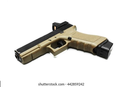 Pistol handgun isolated on white background