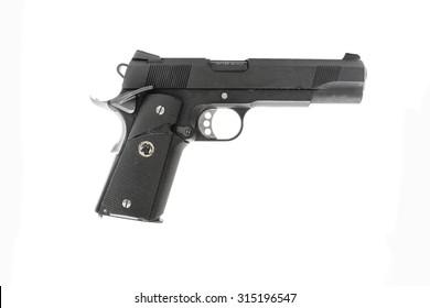 Pistol handgun on white background