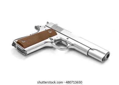 Pistol handgun weapon chrome isolated on white background