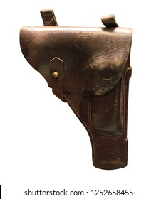 pistol holster isolated on white background. leather holster.