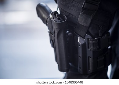 Pistol Holstered on Thigh