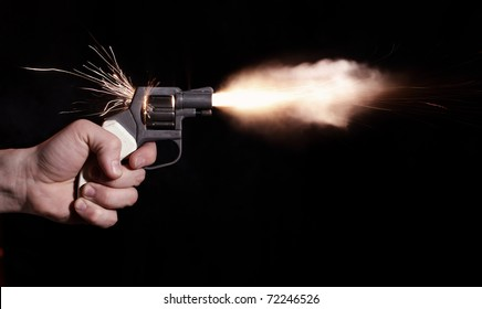 pistol   isolated on black