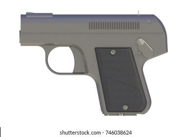 Pistol isolated on white background, 3D rendering