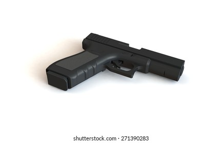 A pistol isolated on white. The pistol has a loaded magazine of bullets and is places on a white surface.