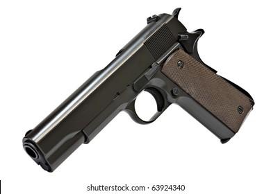 Pistol M1911, NO TM, isolated.