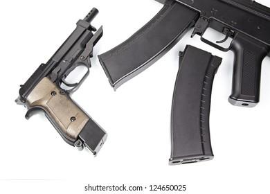 Pistol and machine gun, gun detail, danger and death