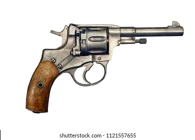 Pistol revolver isolated on white background. Vintage pistol revolver. Pistol revolver top view .