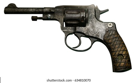 Pistol revolver isolated on white background. Vintage pistol revolver. Pistol revolver top view .
