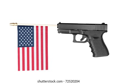 A pistol shoots out a flag.  Isolated on white.