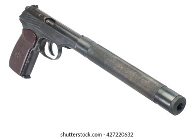 pistol with silencer isolated ez canvas