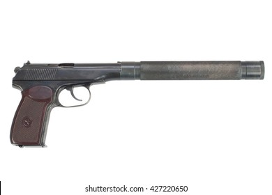 pistol with silencer isolated