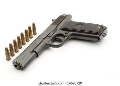 pistol studio isolated over white