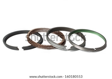 Piston Rings Engine Spare Part Isolated Stock Photo (Edit