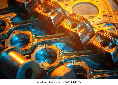 Pistons. Garage auto repair service background.