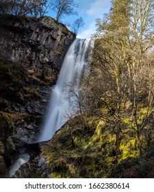 Pistyll Rhaeadr is often referred to as one of the Seven Wonders of Wales. The waterfall is formed by the Afon Disgynfa falling in three stages over a 240-foot cliff-face, into the Afon Rhaeadr below.