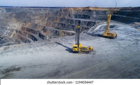 Pit gold mining in Russia, Siberia, Shooting from air