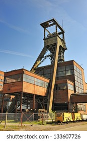 Pit head winding gear at disused coal mine in Petite-Rosselle, Moselle, Lorraine, France