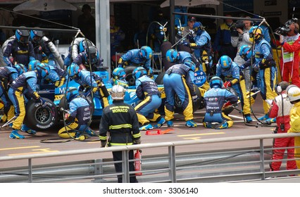 Pit lane in Monaco at the races 2006
