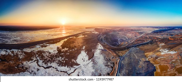 Pit on mining in Rossi, Siberia, shooting from air