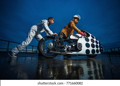 Pit stop of vintage motorbike
