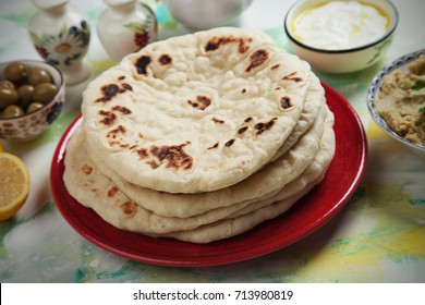 Pita bread, flatbread popular in turkish, lebanese and other oriental cuisines