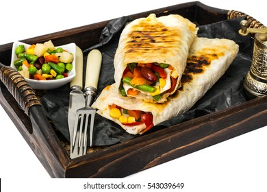 Pita bread with Mexican vegetable mix. Studio Photo