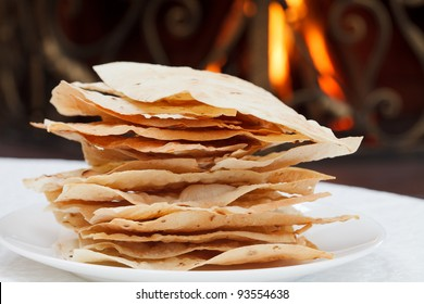 pita bread on a background of fire