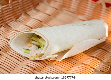 pita bread roll with delicious fillings on a beautiful background