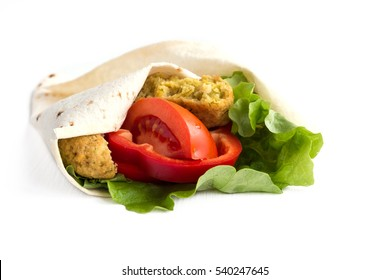 pita with falafel, lettuce, tomato and red  pepper isolated on white.