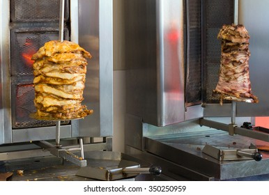 Pita gyros preparation on the kitchen in street cafe.