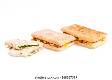Pita sandwich with cheese and panini with meat isolated on white background