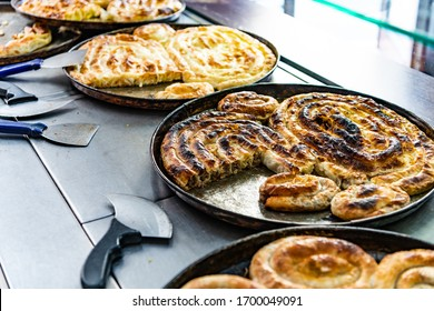 Pita, traditional Bosnian pies for sale. Also knows as burek.