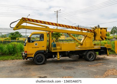 Pitas, Sabah, Malaysia - October 16 2016: Articulated platform truck (also known as aerial work platform), owned by the District Council Pitas, operated by Public Works Department