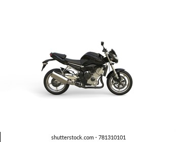 Pitch black modern sports motorcycle - side view - 3D Illustration