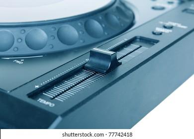 Pitch on Dj cd player, closeup on white