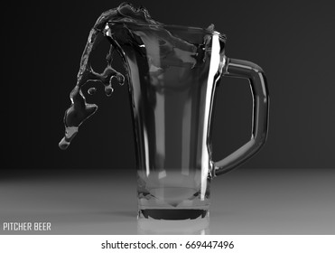 pitcher beer 3D illustration on dark background