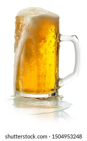 Pitcher of Beer with Foam isolated on white background