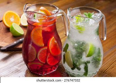 pitcher refreshing refreshing drink. a large portion of mojito and sangria