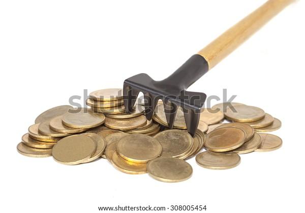 Pitchfork money on white background,shallow DOF