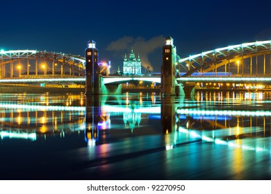 Piter the first bridge in winter night (Saint-Petersburg Russia, Neva River)