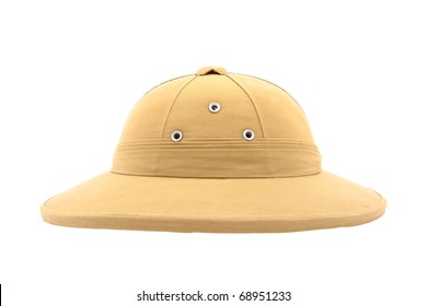 pith helmet isolated on white