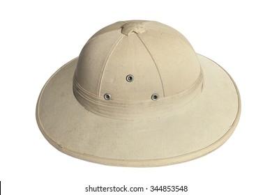 Pith helmet (safari helmet, sun helmet) isolated on white background