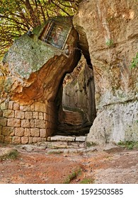 Pitigliano, Grosseto, Tuscany, Italy: the Via Cava of Saint Joseph, one of the long Etruscan trench dug into the tuff rock that linked ancient necropolis and the settlements