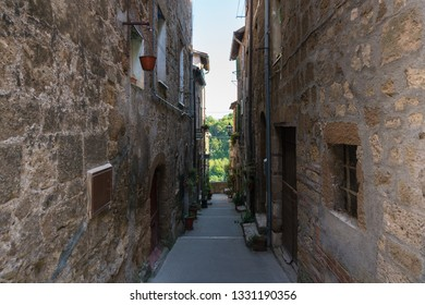 Pitigliano,Italy-april 29,2018:view of particolar of the Pitigliano, medieval town in Tuscany during a sunny day.