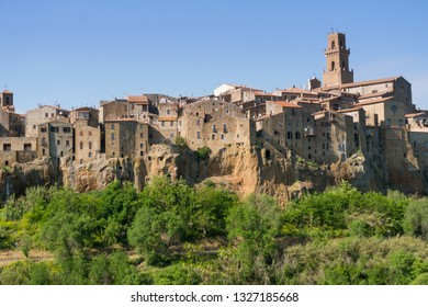 Pitigliano,Italy-april 29,2018:view of Pitigliano, medieval town in Tuscany during a sunny day.